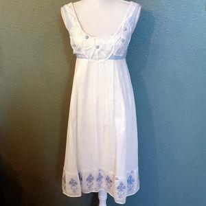 Anthropologie Tabitha White & Blue Dress